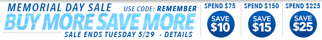 Memorail Day Buy More Save More Sale