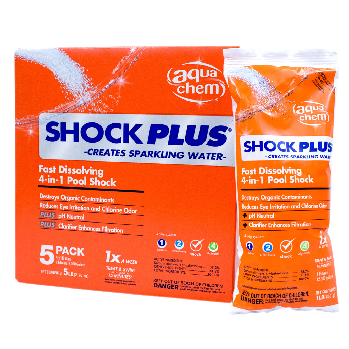 Aqua chem swimming pool 4 in 1 shock plus chemical 5 x 1 - How soon can you swim after shocking pool ...