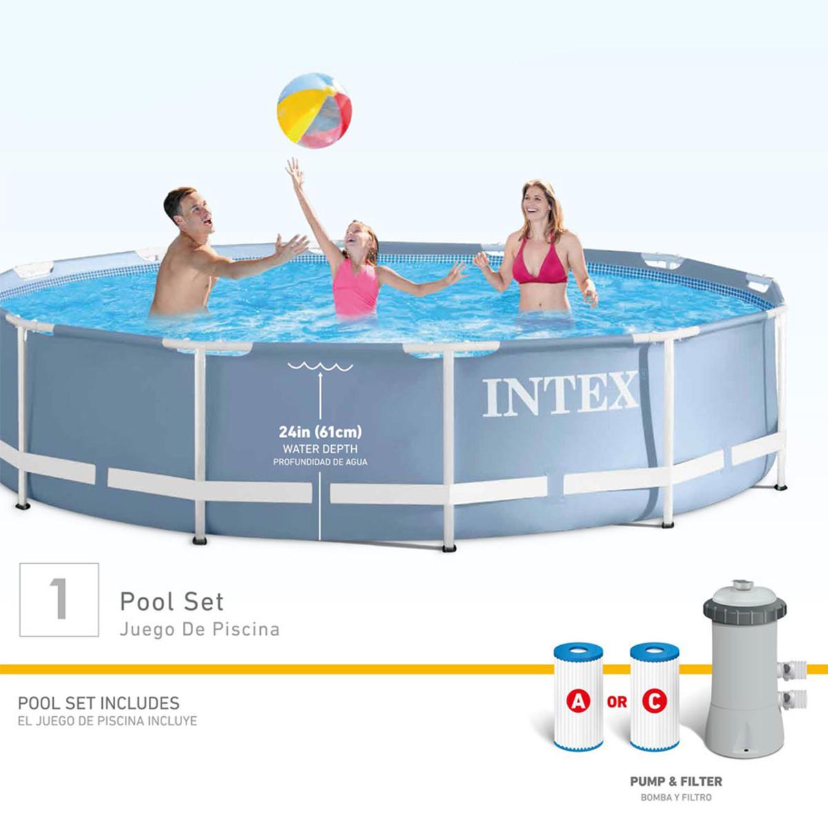 Intex prism frame 12 39 x 30 pool set metal frame pools Intex swim center family pool cover
