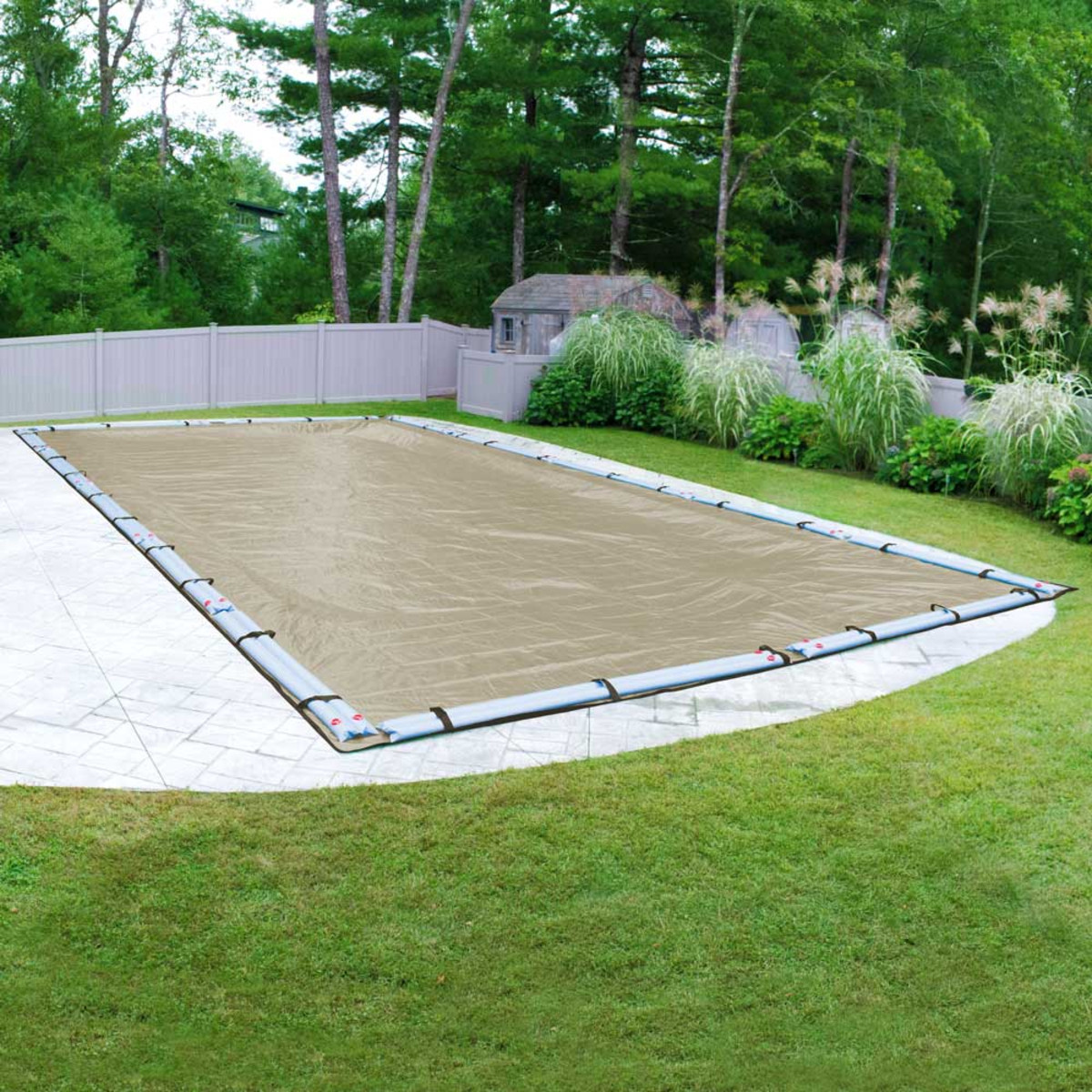 Robelle premium 25 39 x 45 39 rectangular winter pool cover tan in ground pool covers splash for Swimming pool winter cover clips