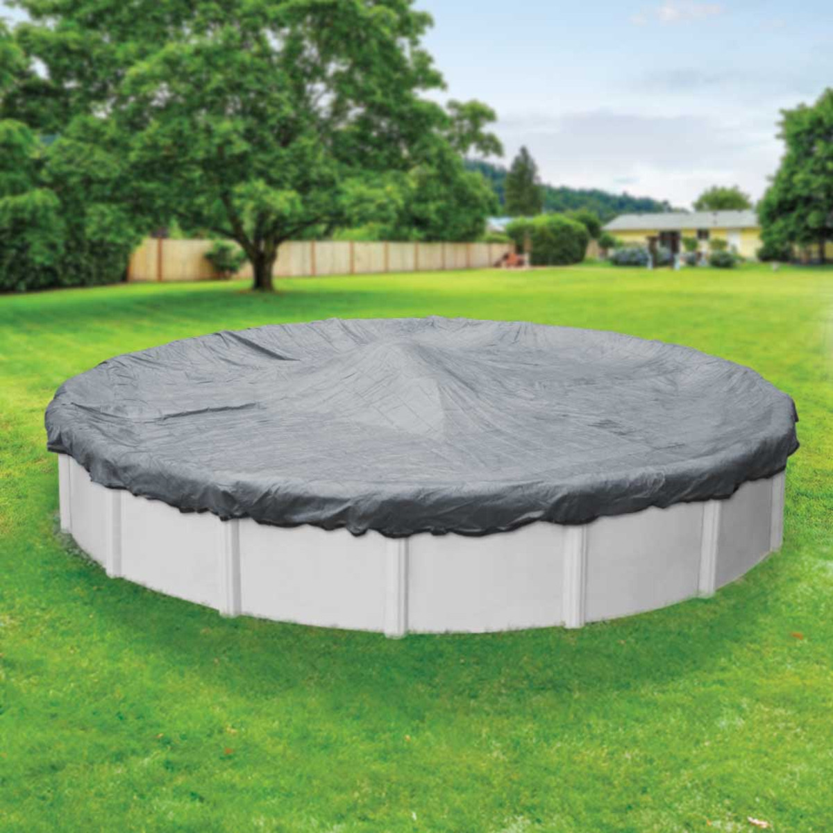Robelle mesh 24 39 round winter pool cover gray black above ground pool covers splash super for Swimming pool winter cover clips