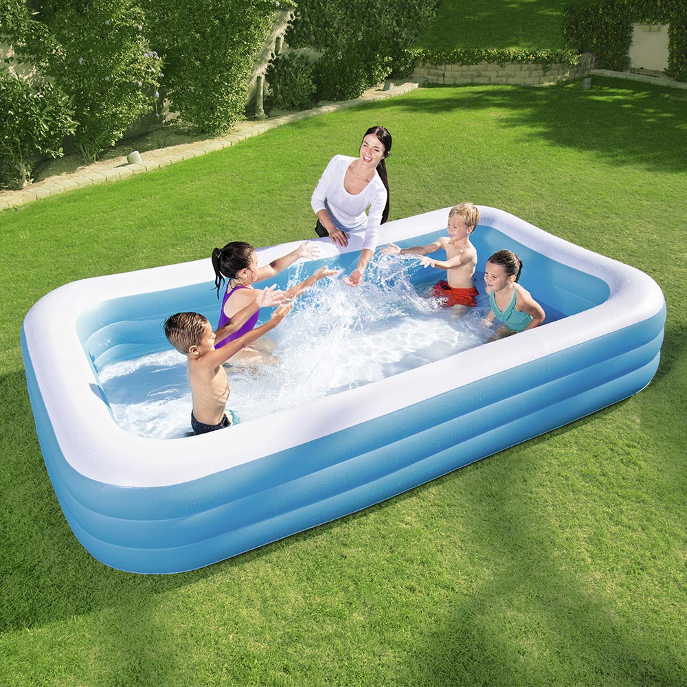 Bestway Deluxe Blue Rectangular Family Inflatable Portable