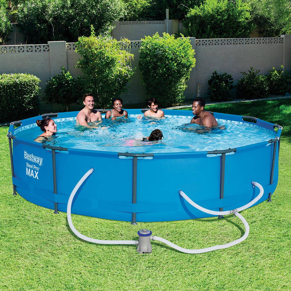 Bestway 12 39 x30 steel pro above ground swimming pool set w - Pool shock how long before swimming ...