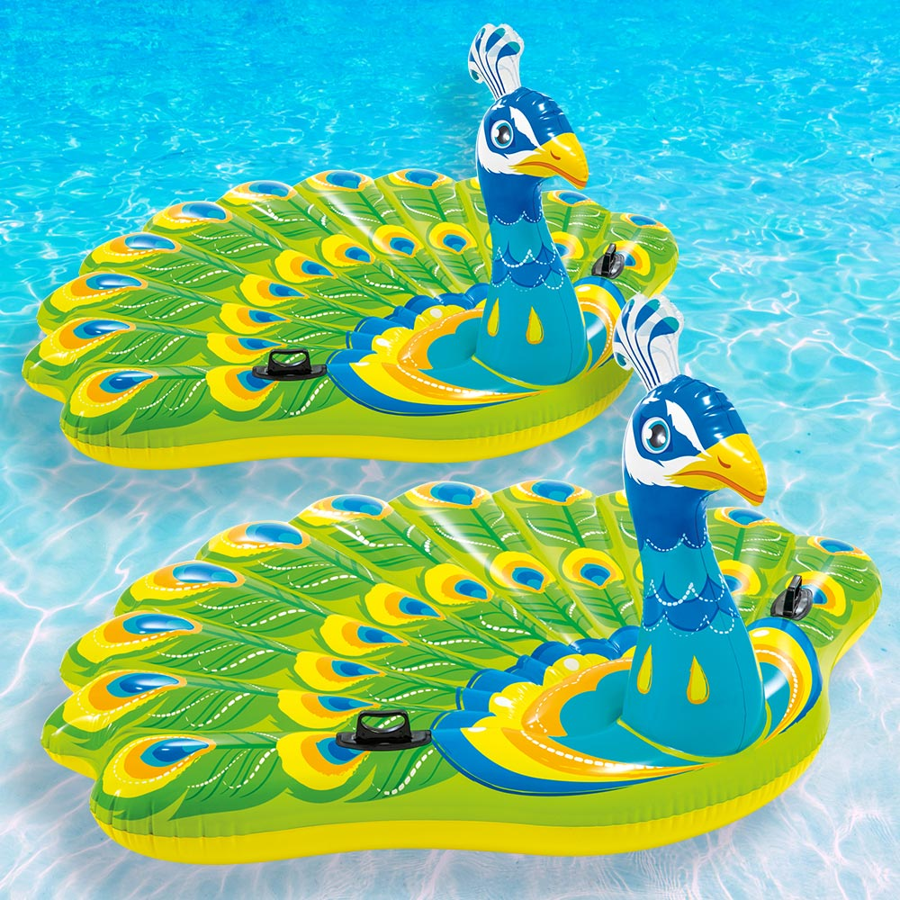 2 Pack Intex Giant Inflatable Colorful Peacock Island Ride On Pool Float Raft
