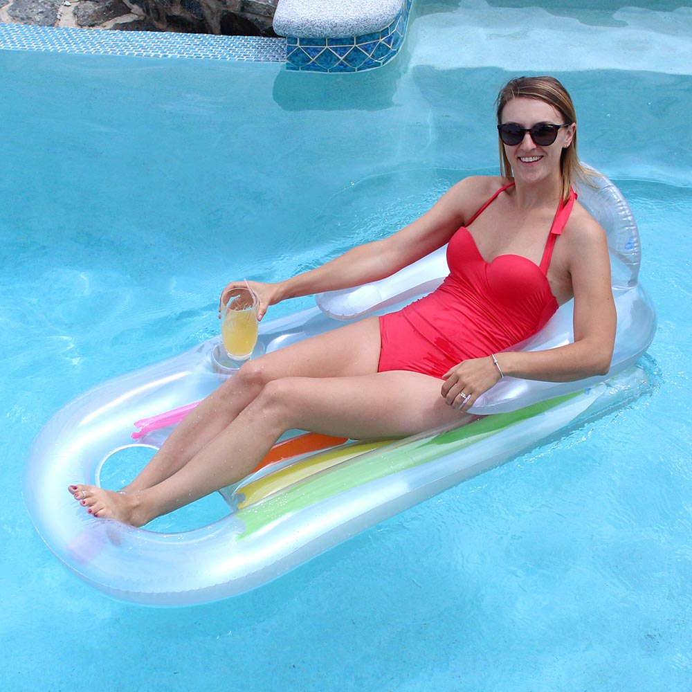 Intex 63 x 33 king kool swimming pool lounge mattress float silver 618194756377 ebay for Intex swim centre family lounge pool cover