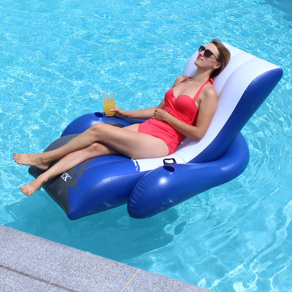 Poolmaster adjustable chaise floating lounge inflatable lounges splash super center for Intex swim centre family lounge pool cover