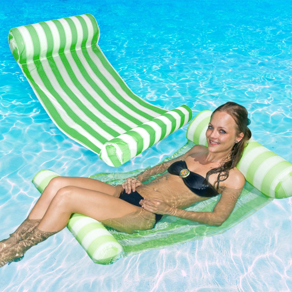 green hammock swimming pool water res itm lounger poolmaster floating outdoor lounge new