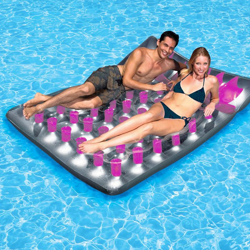 Intex double lounge mat pool floats splash super center for Intex swim centre family lounge pool cover