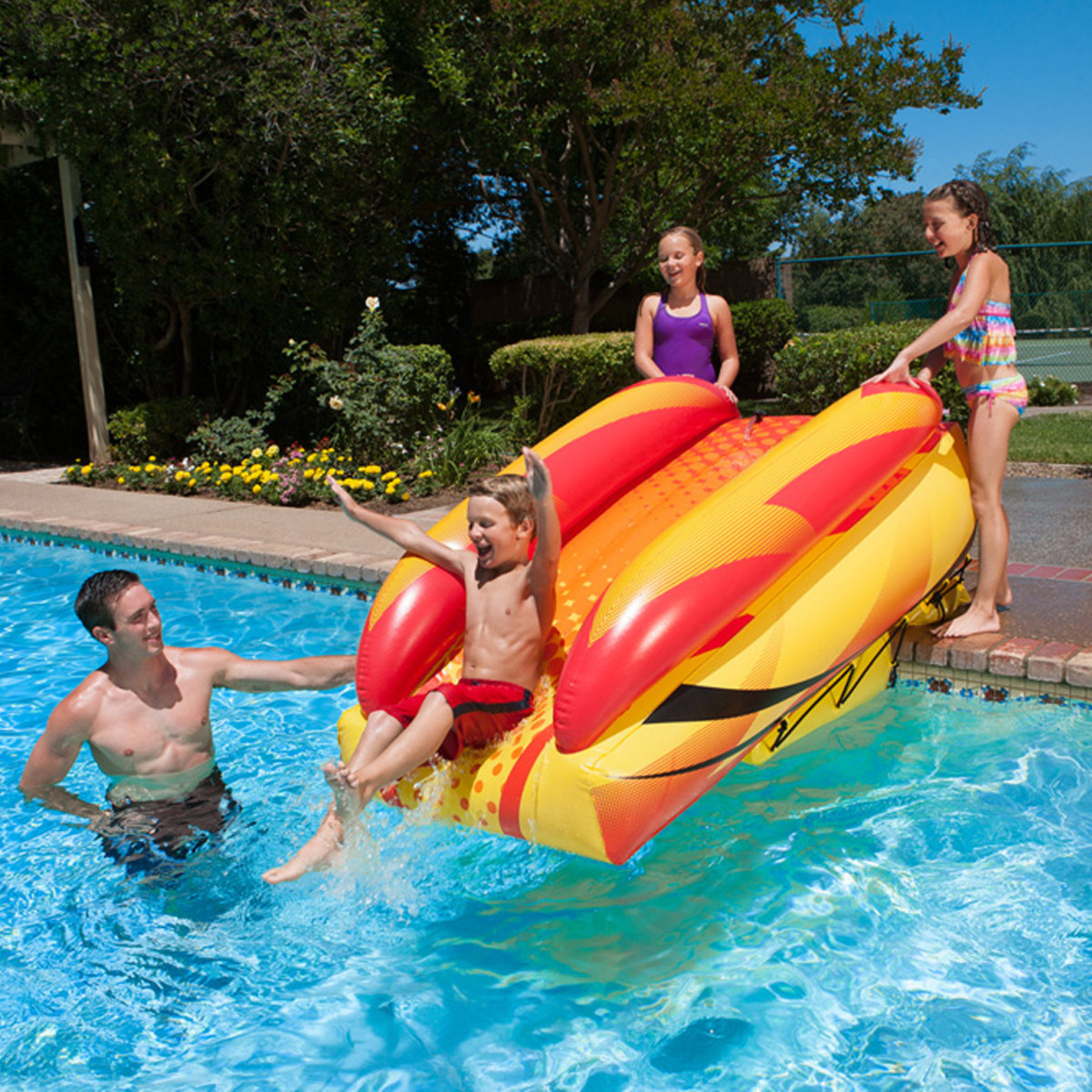Poolmaster launch slide inflatable water slides splash - Swimming pools with waterslides in london ...