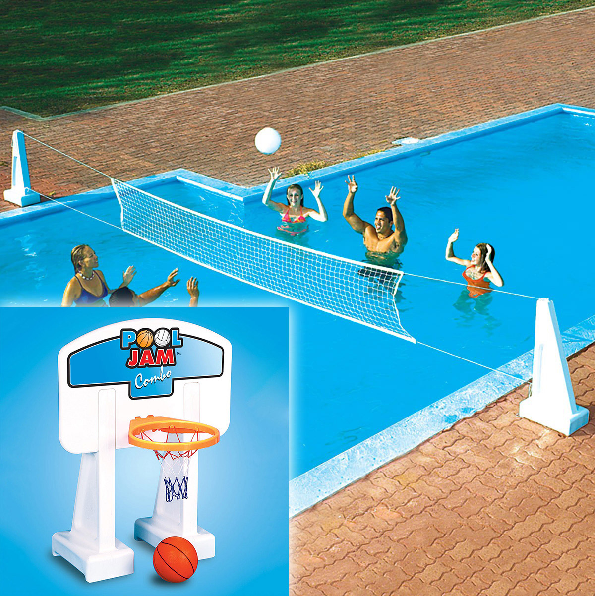 Swimline pool jam inground basketball volleyball for Pool design for volleyball