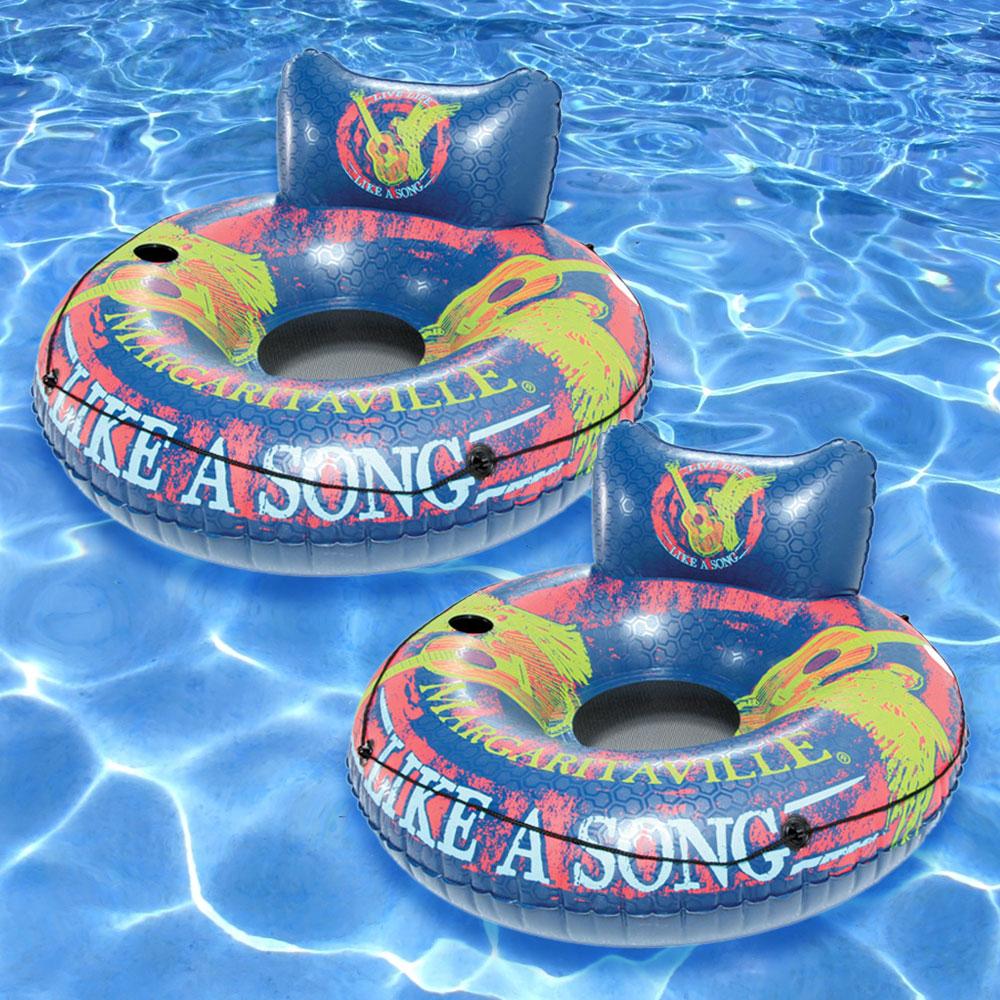 "Margaritaville Easy Rider 48/"" Swimming Pool Tube w// Back Rest /& Cup Holder"